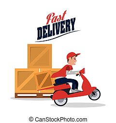 motorcycle box package delivery icon
