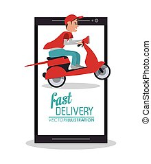 smartphone motorcycle man delivery icon