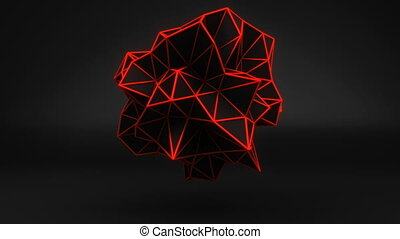Orange glow polygonal 3D shape on black. Loop