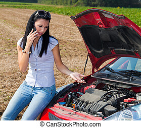 Woman has in her car breaks down Engine failure - Young...
