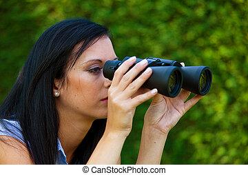 看, 雙筒望遠鏡, 未來, 婦女
