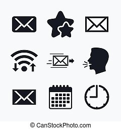 Mail envelope icons Message symbols - Mail envelope icons...