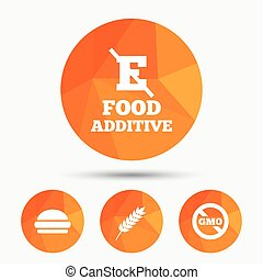 Food additive icon Hamburger fast food sign Gluten free and...