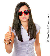 Wife flirts with heart-shaped sunglasses - Young woman with...