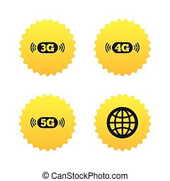 Mobile telecommunications icons. 3G, 4G and 5G. - Mobile...