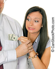 Woman pulls a man out of the money Tasche.Dollar