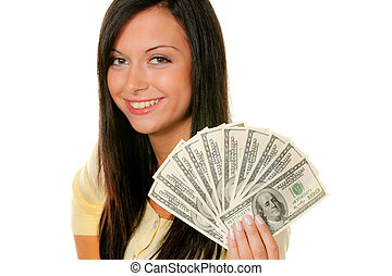 Women with dollar bills - Young woman with dollar bills
