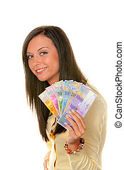 Woman with Swiss franc banknotes - Young Woman with Swiss...