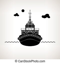 Silhouette of Push Boat - Front View of the Vessel Tugboat,...