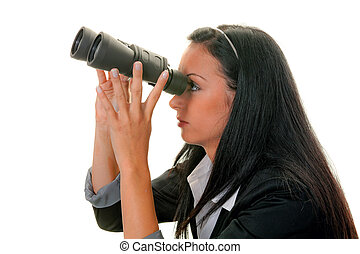 Businesswoman with binoculars looking for the future