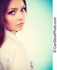 Lovely glamorous young woman portrait - Female charm and...