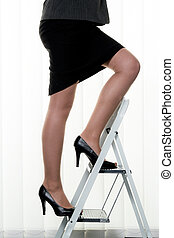 Successful woman makes career ladder