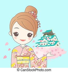 japanese girl with Japan castle - japanese girl is wear...