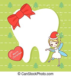 tooth note with tooth fairy - christmas card with cute...
