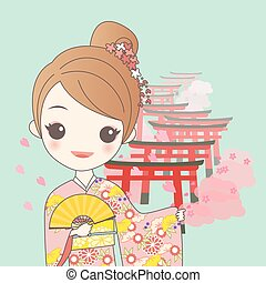 japanese girl with Torii gates - japanese girl is wear...