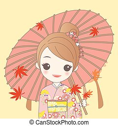 japanese girl is wear kimono and take Japanese paper...