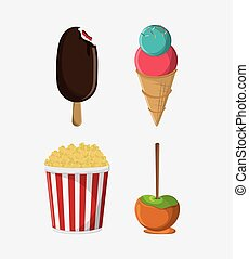 fair food snack carnival icon - ice cream pop corn apple...