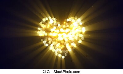 gold glowing heart shape loopable animation - gold glowing...