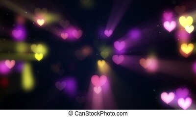 shining heart shapes loopable love background - shining...