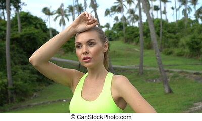 Fitness pretty blonde woman - Close up of young healthy...