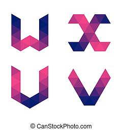 Series of geometric letters u, v, w, x - Series of letters...
