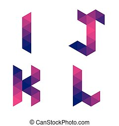 Series of geometric letters i, j, k, l - Series of letters...