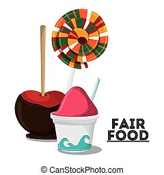 fair food snack carnival icon - ice cream apple candy fair...
