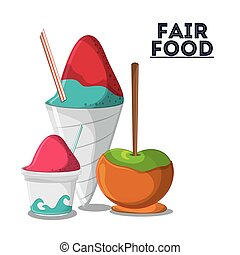 fair food snack carnival icon - ice cream apple fair food...