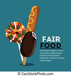 fair food snack carnival icon - corn dog ice cream candy...