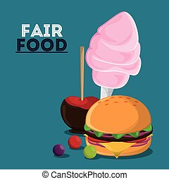 fair food snack carnival icon - apple cotton candy hamburger...