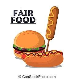 fair food snack carnival icon - hot dog hamburger corn dog...