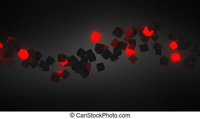 glowing red 3D cubes wave loopable background