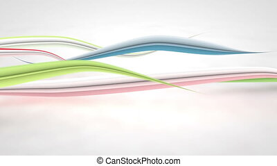 colorful curved 3D lines loop background - colorful curved...