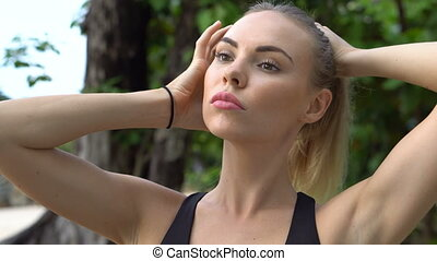 Fitness pretty blonde woman - Close up of sporty young...