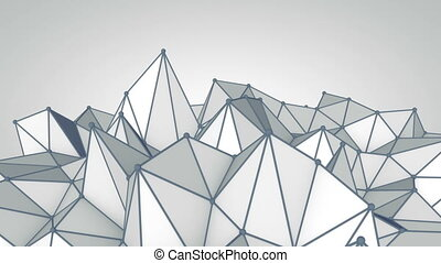 Grey polygonal 3D surface. Futuristic loopable animation.