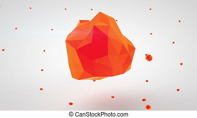 Red polygonal 3D shape Abstract modern animation loopable -...