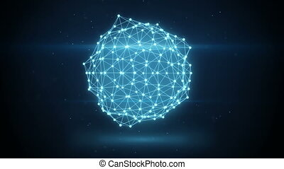 glowing futuristic network shape loopable animation -...