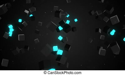 camera flying around glowing cubes loop - camera flying...