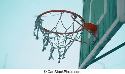 Old Basketball net on outdoor court Close-up