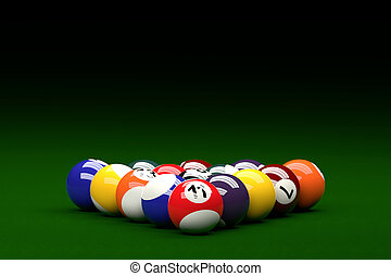 Pool Balls on Pool Table Background, 3D Rendering - 3D...