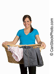 Woman with laundry basket -