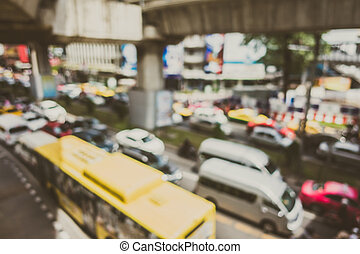Abstract blur traffic jam in bangkok city at Thailand -...