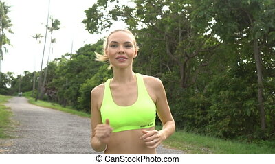 Fitness pretty blonde woman - Young pretty blonde happy...