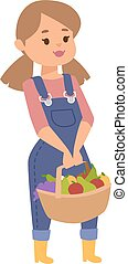 Girl with fruits vector illustration. - Cheerful beautiful...