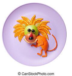 placa, hecho, manzana, furtivo, león, naranja