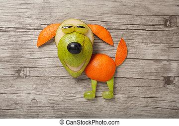 divertido, perro, hecho, de, fresco, frutas, en, tabla