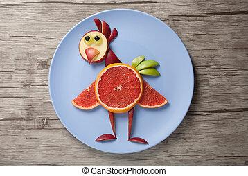 placa, hecho, de madera, escritorio, frutas, pollo