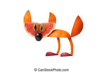 divertido, hecho, aislado, gato, Plano de fondo, naranja
