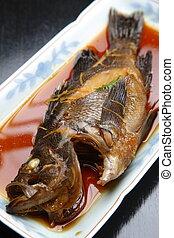 boiled fish - close up shot of Japanese boiled fish