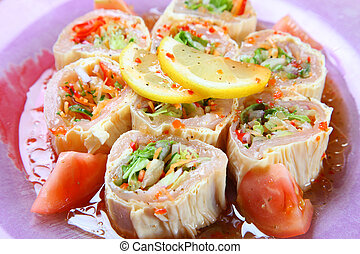 Japanese style ham salad - close up shot of Japanese style...